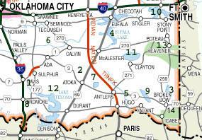 Southeast Oklahoma Lake Location Map - Oklahoma rivers map